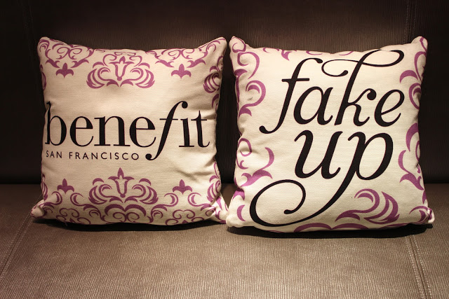 A picture of the benefit fake up event pillows