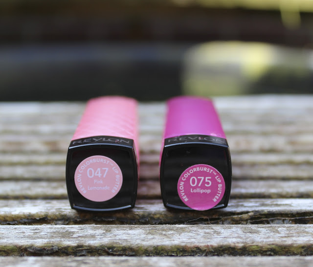 a picture of revlon lip butter pink lemonade 047 and lollipop 075