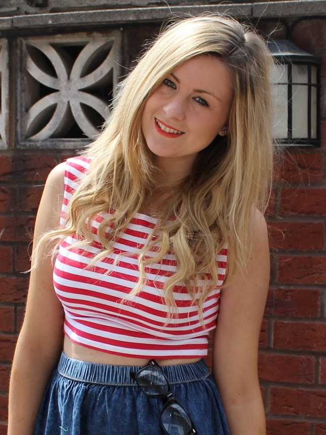 a picture of through chelseas eyes wearing a crop top and denim skater skirt 'wheres wally'
