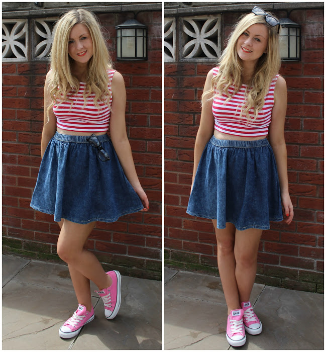 a picture of through chelseas eyes wearing crop top and denim skater skirt 'wheres wally'