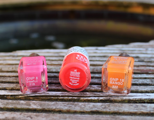 summer nail polishes, barry m, models own, barry m gel shine, barry m mango, barry m grapefruit, models own hedonist