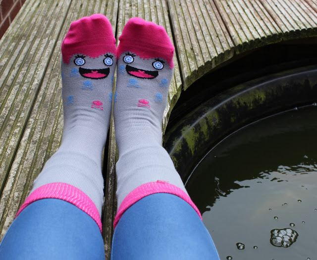 a picture of Chatty Feet socks Miko being worn