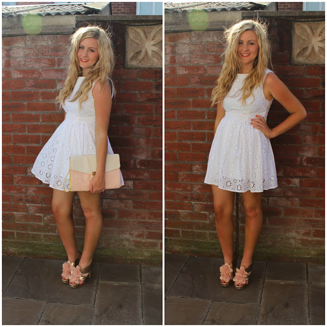 white dress, red lips, floral dress, pastel colours, through chelsea's eyes