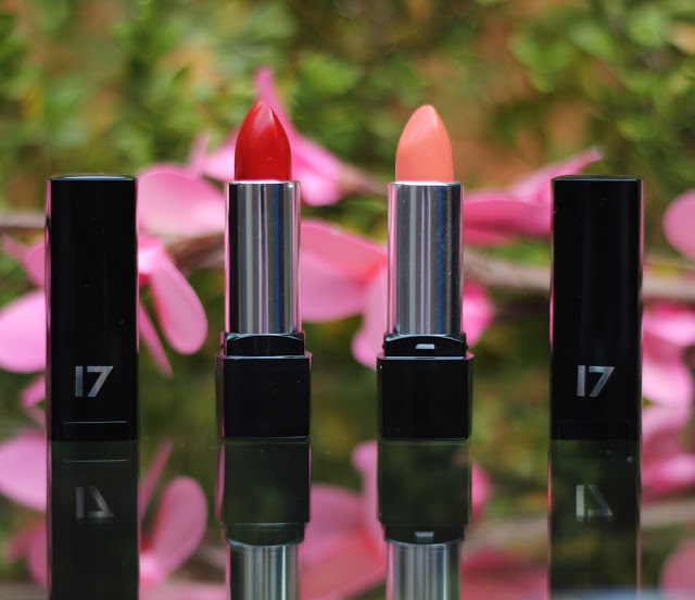 seventeen mirror shine lipstick, 17, through chelsea's eyes, roasted red, cheeky secret, swatches
