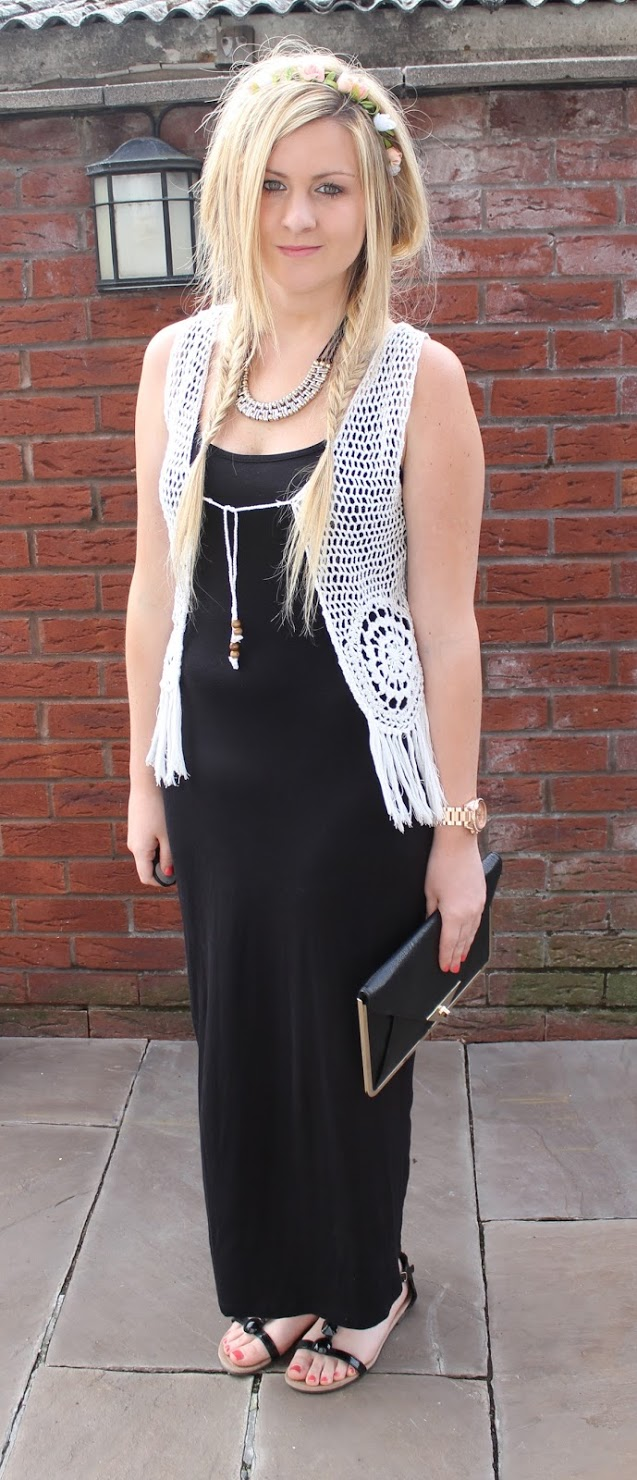 black maxi, primark, flower headband, ootd, clutch bag, through chelsea's eyes