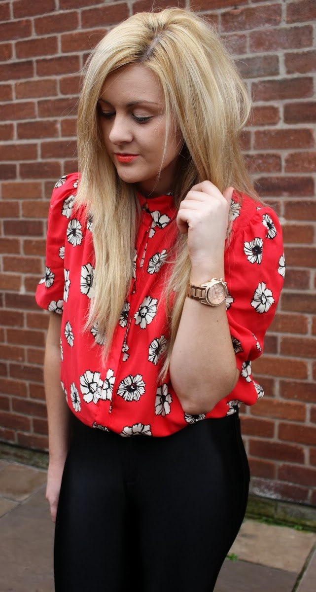 primark, blouse, floral blouse, disco pants, glamorous disco pants, american apparel dupe, through chelsea's eyes, fashion, ootd,