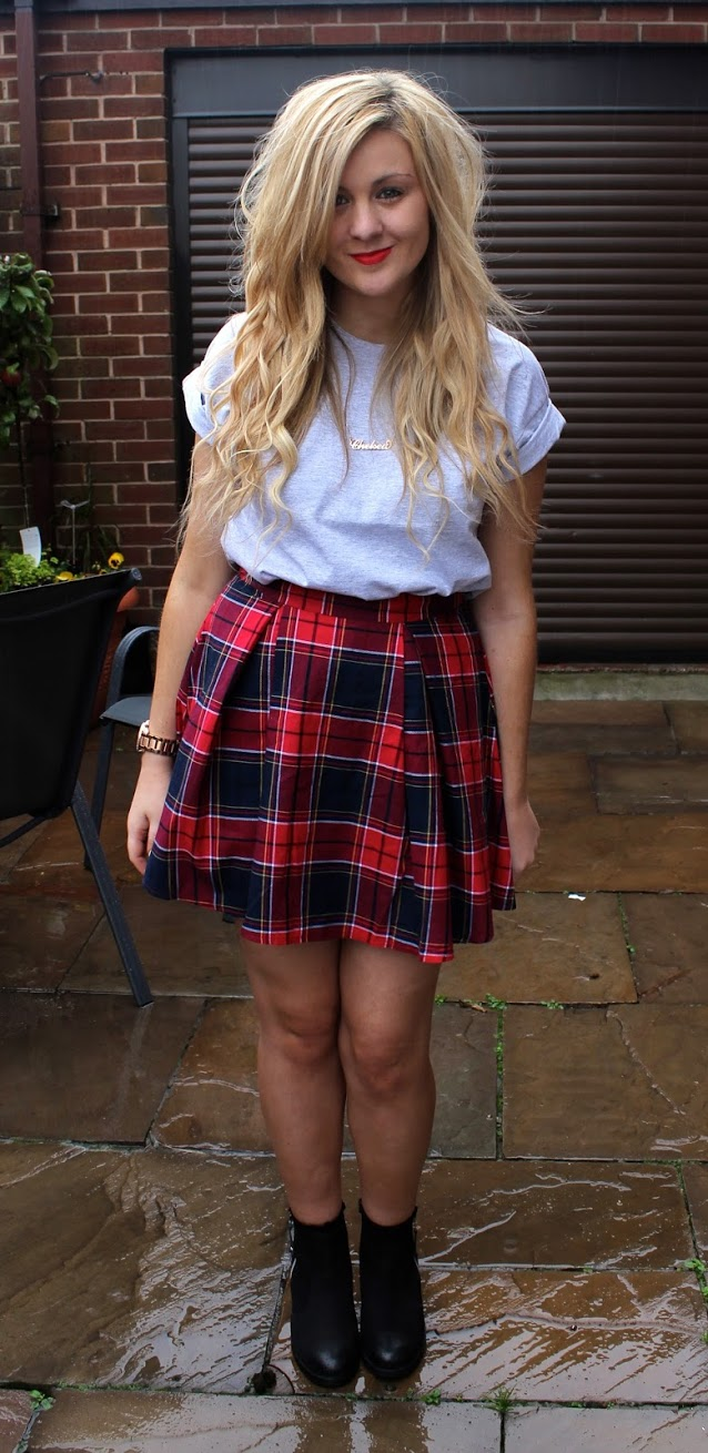 tartan skirt, skater skirt, tartan skater skirt, fashion, ootd, through chelsea's eyes, chelsea yates, tartan