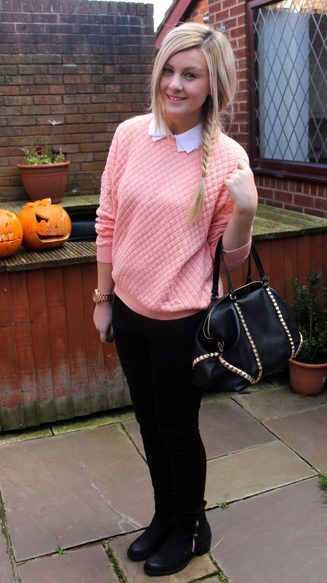 jumper, knitwear, collar, collared jumper, outfit, ootd, fashion , through chelsea's eyes, fishtail braid