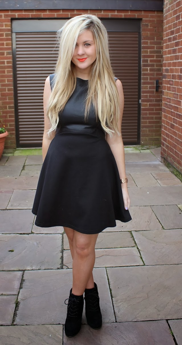 fashion blog, faux leather, french connection, LBD, little black dress, through chelsea's eyes, skater dress, flit and flare dress, french connection feather ruth dress