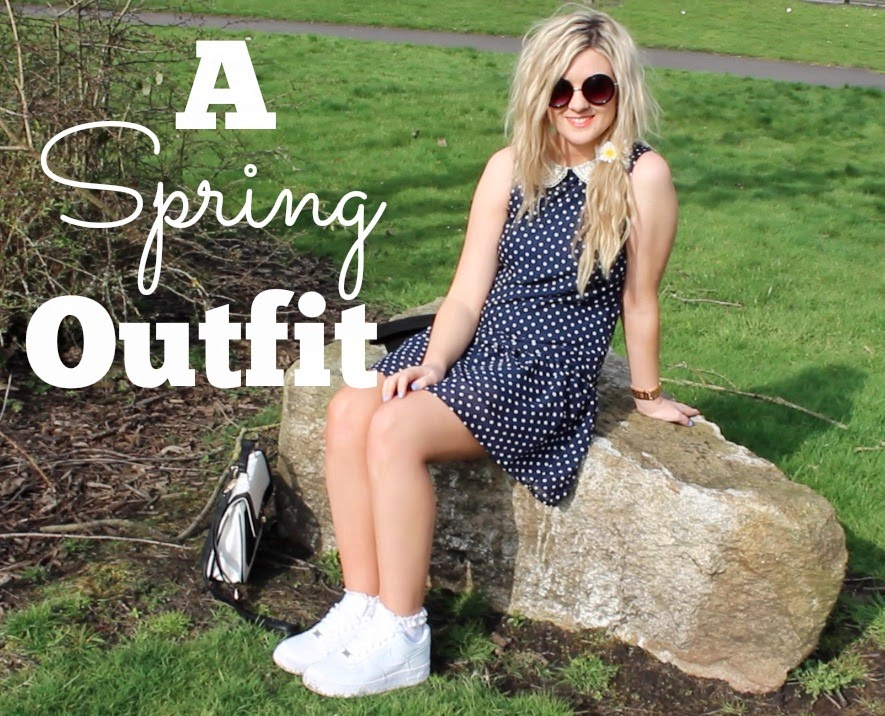 spring outfit, polka dots, nike air force 1, nike air force 1 style, primark, through chelsea's eyes, fashion, spring fashion,