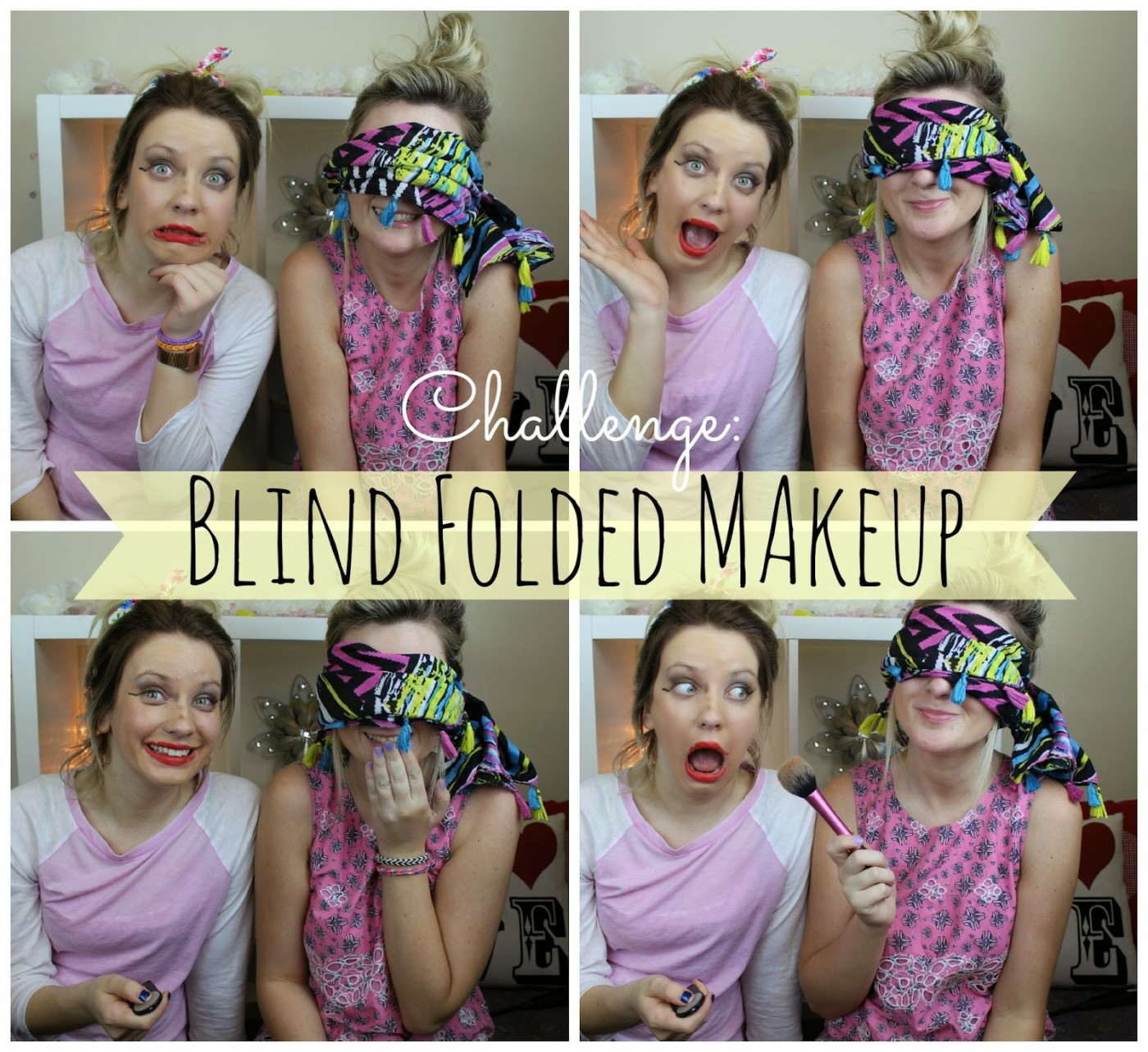 blind folded makeup challenge, blind folded makeup, through chelsea's eyes,